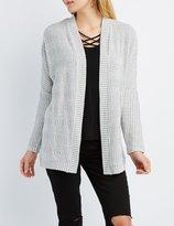 Charlotte Russe Marled Crochet-Trim Cardigan