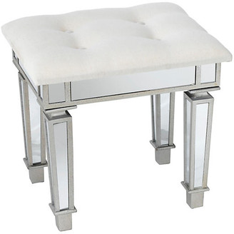 One Kings Lane Alexandria Stool - Ivory Linen - Antiqued Silver/mirror/Ivory