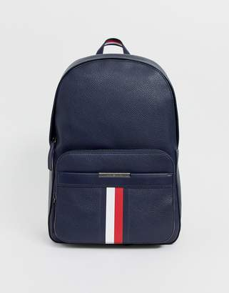 Tommy Hilfiger faux leather backpack in navy with logo stripe-Black