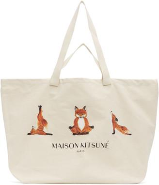 MAISON KITSUNÉ Off-White XXL 3 Yoga Foxes Tote