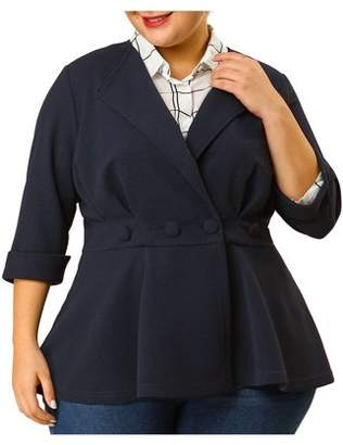 Unique Bargains Women's Plus Size Ruffle V Neck Business Button Ruched Blazer 3X Dark Blue