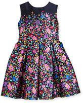 Oscar de la Renta Floral Mikado Dress, Blue Pattern, Size 2-14
