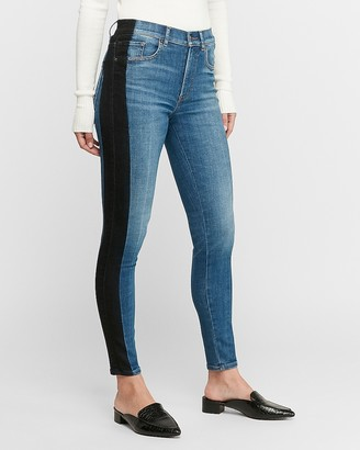 Express High Waisted Hyper Stretch Black Stripe Ankle Skinny Jeans