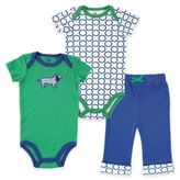 Baby Vision Yoga Sprout Size 9-12M Dog Bodysuit, Circles Bodysuit, and Pant Set in Green/ Blue