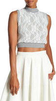 Lily White Cropped Knit Lace Sweater Tank