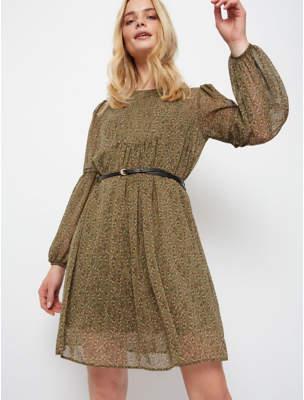 George Khaki Ditzy Floral Print Sheer Overlay Dress