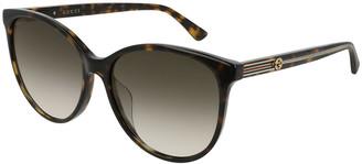 Gucci Round Acetate Sunglasses w/ Web & Logo Temples