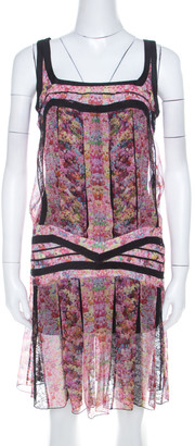 Roberto Cavalli Pink and Black Floral Sheer Silk Lace Trim Sleeveless Shift Dress S