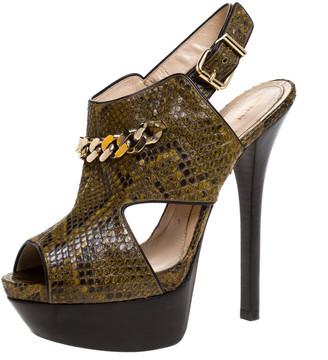 Fendi Green/Black Python Chain Link Platform Sandals Size 39.5