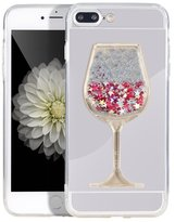 Matezon Mirror Case for,Luxury Mirror Back Shock-Absorption TPU Bumper Reflection Case with Dynamic Goblet Wine Glass Sandglass for Samsung (B Wine Silver)