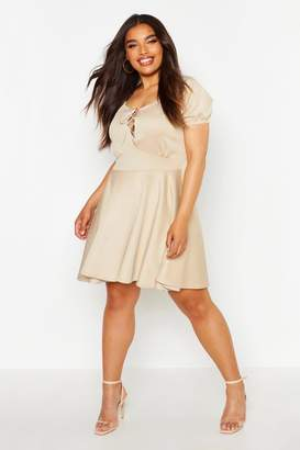 boohoo Plus Lace Up Detail Skater Dress