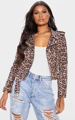 PrettyLittleThing Leopard Print Biker Jacket