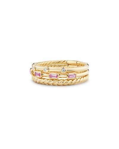 David Yurman Novella 18k Three-Row Ring w/ Pink Sapphires, Size 6