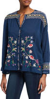 Johnny Was Gisella Floral Embroidered Voile Button-Down Blouse