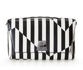 Akris Anouk Striped Leather Day Bag, Black/White
