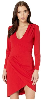 BCBGMAXAZRIA Long Sleeve V-Neck Dress (Burnt Red) Women's Dress