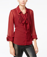 Fair Child Sheer Lace-Contrast Bow Blouse