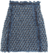 Sonia Rykiel Frayed laser-cut denim mini skirt