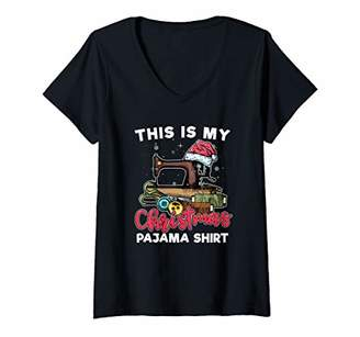 Womens This Is My Christmas Pajama Quilting Sewing Lovers V-Neck T-Shirt