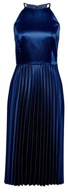 Dorothy Perkins Womens Luxe Navy Halter Pleated Midi Dress