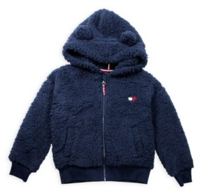 Tommy Hilfiger Little Girl Fuzzy Zip Up Hoodie with Heart Flag Patch and Ears