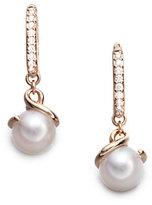 Mikimoto Twist 7MM White Cultured Akoya Pearl, Diamond & 18K Rose Gold Drop Earrings