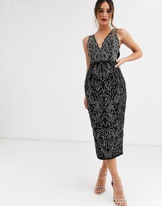 Asos Design DESIGN midi pencil dress with metalic thread embroidery and stud embellishment