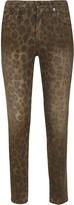R 13 Leopard Print Skinny Jeans