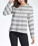 Heathered Gray Striped Henley Tunic