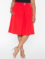 ELOQUII Plus Size Buckle A-line Skirt