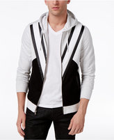 INC International Concepts Men's Colorblocked Hoodie with Faux Leather Piecing, Only at Macy's