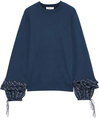 Clu Ruffled Checked Twill-trimmed French Cotton-terry Sweatshirt
