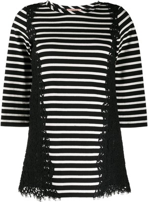 Twin-Set 3/4 Sleeve Striped Print Top