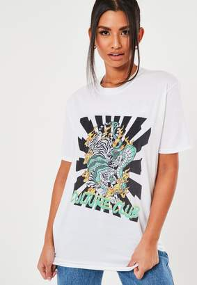 Missguided Tall White Dragon Graphic T Shirt
