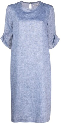 Peserico Gathered-Sleeve Shift Dress