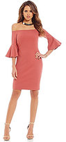 Gianni Bini Fan Fav Pamela Off-the-Shoulder Bell Sleeve Sheath Dress