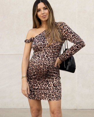 The Drop Women's Leopard Print One Shoulder Long Sleeve Bodycon Dress by @sivanayla XS