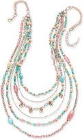 Nine West Rose Gold-Tone Multi-Layer Beaded Necklace