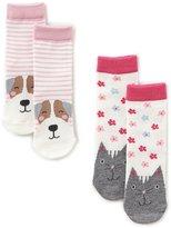 Joules Baby Girls Newborn-3T Cat/Dog 2-Pack Socks