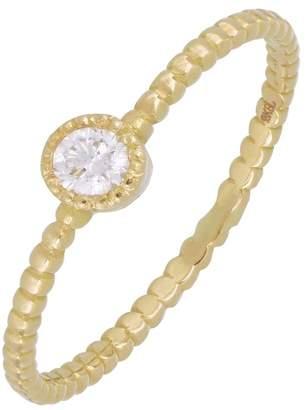 Bony Levy 18K Yellow Gold Bezel Set Diamond Beaded Band Ring - 0.10 ctw
