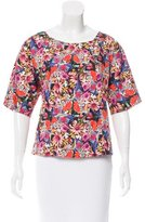 Tibi Short Sleeve Floral Print Top