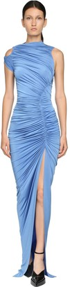 Thierry Mugler Draped Stretch Long Dress