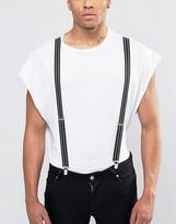 Reclaimed Vintage Stripe Suspenders Black
