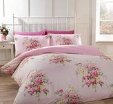 Kate Cotton Flannelette Double Quilt Duvet Cover and 2 Pillowcases Pink Floral Bedding Bed Set, Pink