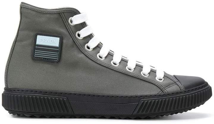 Prada logo patch hi-top sneakers