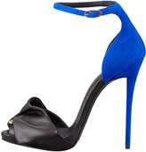 Giuseppe Zanotti Safety Pin Leather & Suede Sandal, Black/Blue