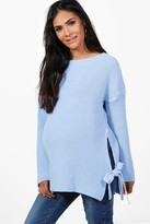 boohoo Maternity Holly Tie Side Jumper blue