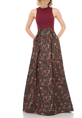 Kay Unger New York Mikela Floral Jacquard Halter Gown w/ Crepe Bodice & Pockets