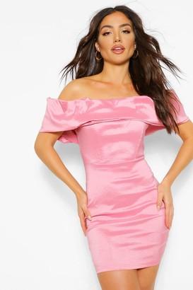 boohoo Taffeta Off The Shoulder Statement Mini Dress