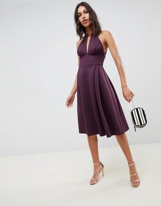 Asos Design DESIGN scuba neck trim midi prom dress-Purple
